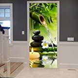 A.Monamour Yoga Meditation Idea Green Bamboo Water Natural Scenery 3D Print Eco-Friendly Vinyl Room Door Decals Wallpaper Wall Murals Removable Stickers Posters DIY Art Decors For Home Decorations