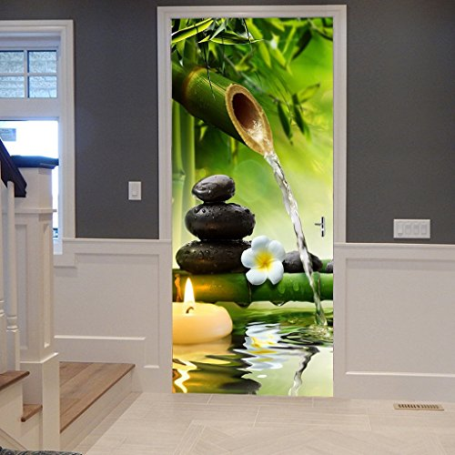 A.Monamour Yoga Meditation Idea Green Bamboo Water Natural Scenery 3D Print Eco-Friendly Vinyl Room Door Decals Wallpaper Wall Murals Removable Stickers Posters DIY Art Decors For Home Decorations by A.Monamour