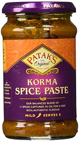Patak's Korma Curry Paste, Coconut & Coriander (Mild), 10 oz, (Pack of 2)