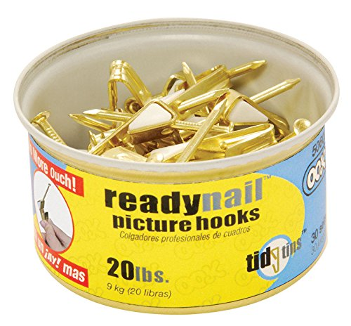 OOK 50607 ReadyNail Conventional Brass Hook Tidy Tin, Supports Up to 20 Pounds (Pack of 2)