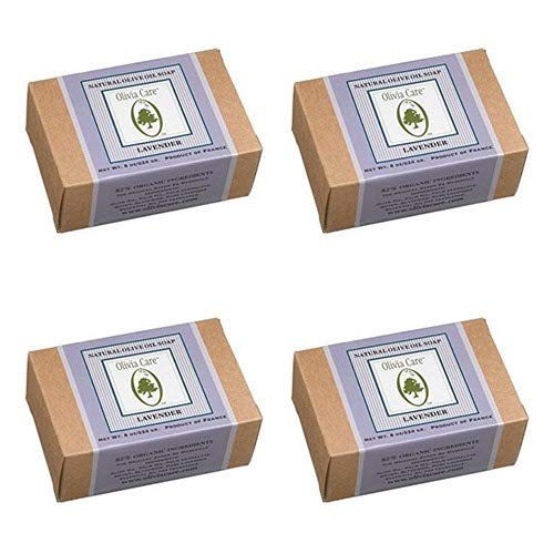 Olivia Care Natural Olive Oil Soap, Lavender, 8-Ounce Boxes (Pack of 4)