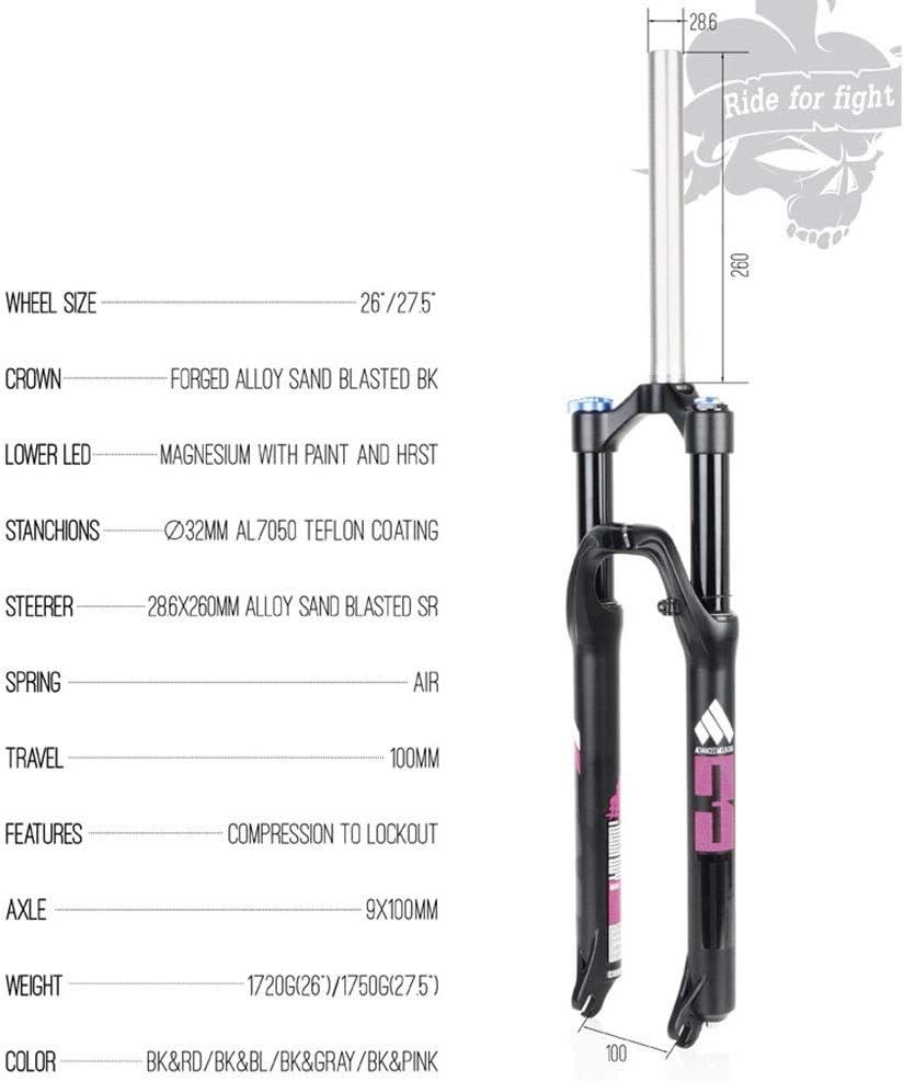 MZP MTB Air Fork Horquilla Suspensión Bicicleta Montaña 26 27.5 ...