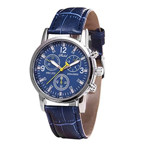 (Big Luxury Men's Wrist Watch - Leather Watch Band - 40mm Analog Watch - Japanese Quartz Movement (D))