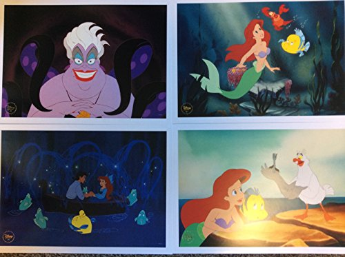 Disney Exclusive The Little Mermaid Featuring Ariel Limited Edition 2013 Movie Lithograph Set Including 4 Lithos & Storage Folder