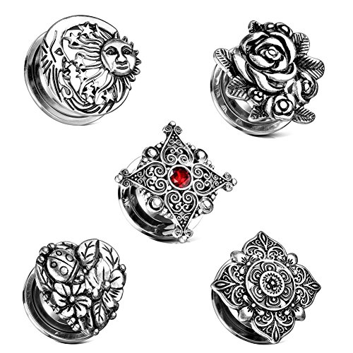 (LHPNB 10Pcs 5Style Stainless Steel Retro Pattern Pulley Ear Tunnels Plugs Stretcher Expander Set Kit 00g )