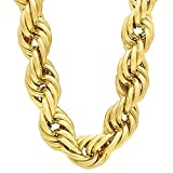 Men's 20mm 14k Gold Plated Hip Hop Jumbo Dookie Rope Chain Necklace, 30'' + Microfiber Polishing Cloth