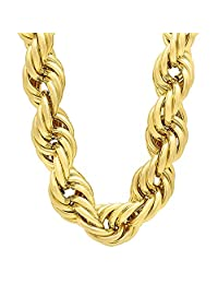 20mm 14k Gold Plated Hip Hop Jumbo Dookie Rope Chain Necklace