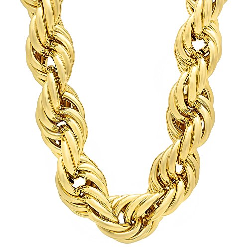 The Bling Factory Men's 20mm 14k Gold Plated Hip Hop Jumbo Dookie Rope Chain Necklace, 36
