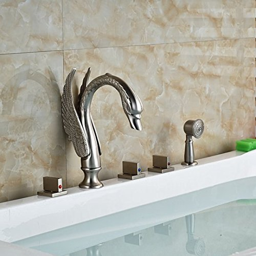 GOWE Brushed Nickel Swan Bathroom Tub Faucet 5 PCS Vanity Sink Mixer Tap Shower Unit 2