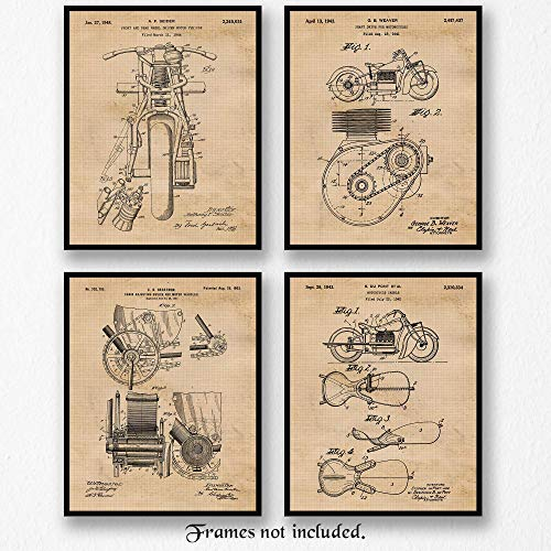 - Original Indian Motorcycle Patent Poster Prints- Set of 4 (Four 8x10) Unframed Pictures- Great Wall Art Decor Gift for Home, Office, Garage, Man Cave, Shop, Student, Teacher, Mechanic