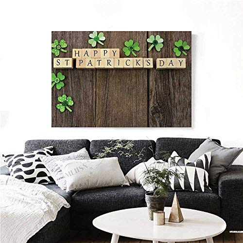 homehot St. Patricks Day Wall Paintings Greetings with Wooden Blocks and Paper Shamrocks on Rustic Planks Image Print On Canvas for Wall Decor 24