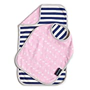 Bella Tunno Reversible Bib and Burp Set, Flamingo Fancy