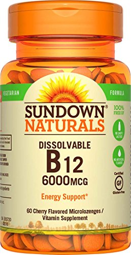 Sundown Naturals Sublingual Vitamin B-12 6000 mcg, 60 Tablets