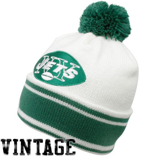 New York Jets Throwback Jersey Stripe Cuffed Knit Hat w/ Pom (Throwback Jets Jersey)