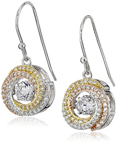14 Tri Stone - Tri-Tone Sterling Silver Dancing Cubic Zirconia Dangle Earrings