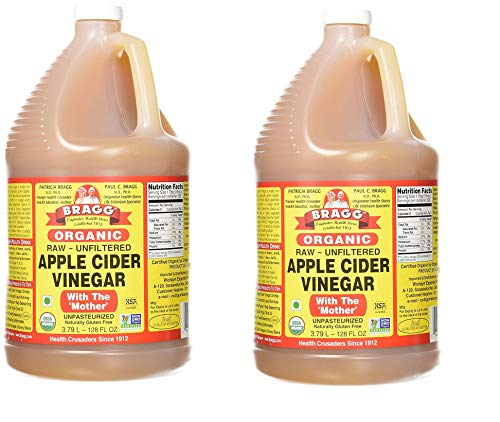 Bragg Organic Apple Cider Vinegar, Raw, Unfiltered, with the Mother, 128 Ounce - Pack 2 1