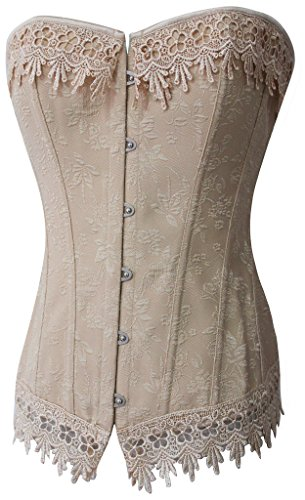 Alivila.Y Fashion Womens Sexy Vintage Lace Trim Corset 2606-Cream-M