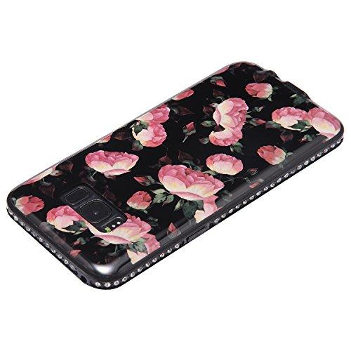 Funda Case Samsung Galaxy S8 silicona,Ukayfe Ultra Delgado Flexible Suave TPU Gel Trasera Bumper Protector Carcasa Para Samsung Galaxy S8,Carcasa de 360 Protección con Pintura de Colores para teléfono Brotes florales rosados