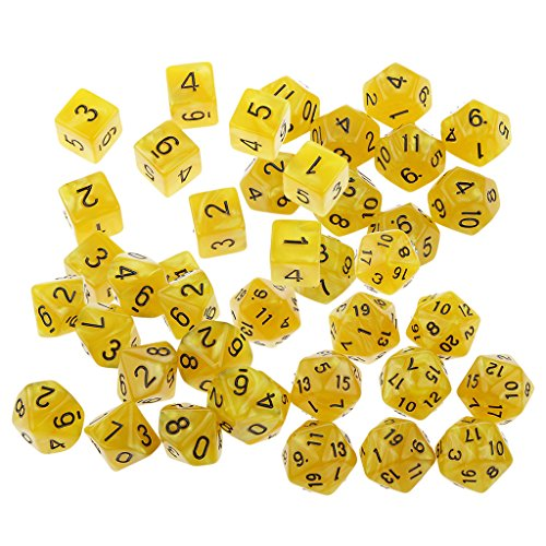 Jili Online 40 Pieces of Yellow Multi Sided D6-D20 Dice for Party KTV Pub Bar D&D Casino Poker Dice Guessing Games Props by Jili Online