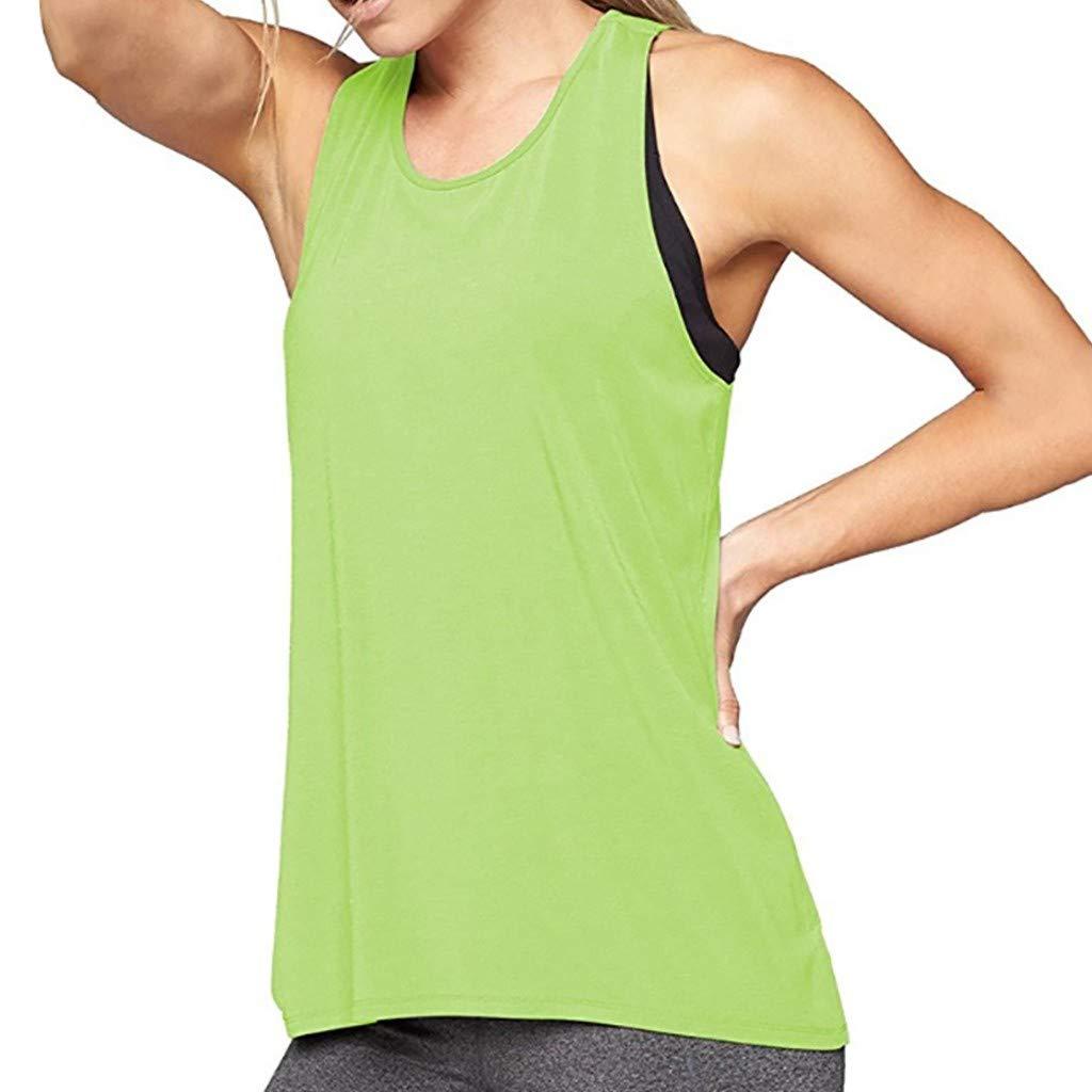 Leoy88 Women Training Yoga Gym Waistcoat Blouses Running Jogger Sport Vest Tops Green