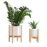 RISEON Mid Century Modern Plant Stand, Wood Indoor Flower Pot Holder Display Potted Rack Rustic,Large Wooden Floor Planter Stand (Planter Not Included) (Small, Natural)