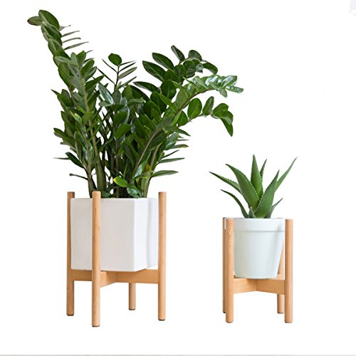 RISEON Mid Century Modern Plant Stand, Wood Indoor Flower Pot Holder Display Potted Rack Rustic,Large Wooden Floor Planter Stand (Planter Not Included) (Small, Natural) by RISEON