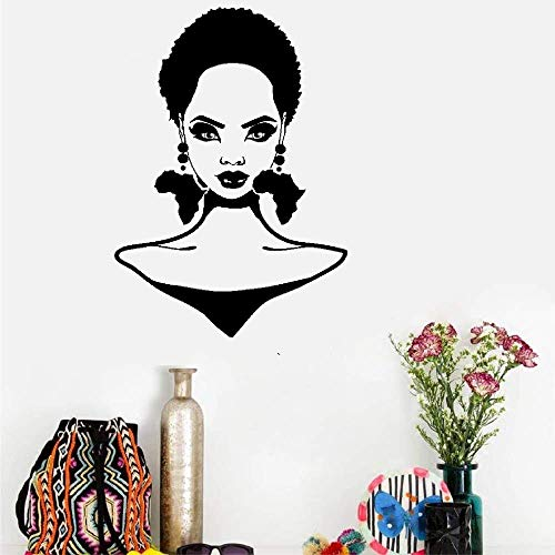 ohoord Vinyl Peel and Stick Mural Removable Wall Sticker Decals African Girl Hairstyle Africa Continent Earrings