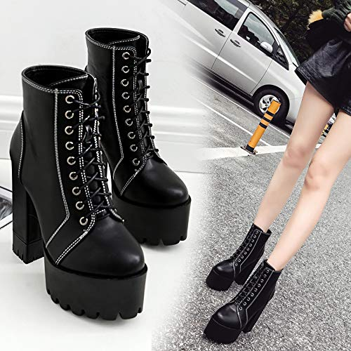Kphy Del Black Negro Cantante bar Mujer Rendimiento De Punk 14 Zapatos Tacón Botas Altura Cm Rock xw8xB1f