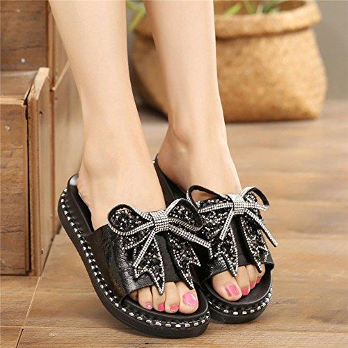 moda Moda Tamaño plano de EU37 2 Zapatillas al zapatos Resistente 235 Negro de Zapatos Color Fondo Verano 5 Mujer Rhinestone desgaste Zapatos 4 UK4 CN37 Negro colores LIXIONG YTRwIw