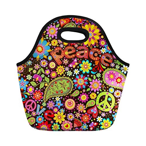 - Semtomn Lunch Tote Bag Colorful Hippy Hippie Symbolic Power Pattern Party Sixties Groovy Reusable Neoprene Insulated Thermal Outdoor Picnic Lunchbox for Men Women