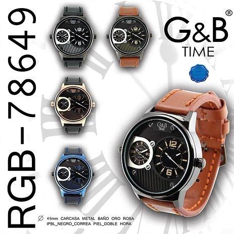 Reloj G&B Hombre XXL Carcasa metal, baño oro rosa, correa piel, doble hora