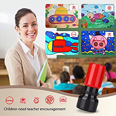 TEKEFT Pack of 5 Sorted Teachers Self-inking Rubber Stamps Teacher Review Photosensitive Stamps for Education: Toys & Games