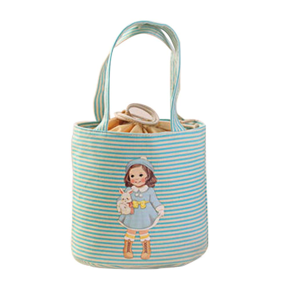 KFSO Girl Muitifunction Canvas Bento Lunch Bag for Picnic Travel Tote Lunch Bag with Rope Belt Stylish (Blue)