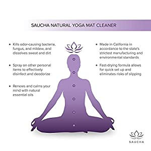 Saucha Natural Yoga Mat Cleaner Spray 4oz with Free Microfiber Cleaning Cloth | Eco Friendly Plant & Essential Oils Based Cleaning Solution (Lavender Bliss)