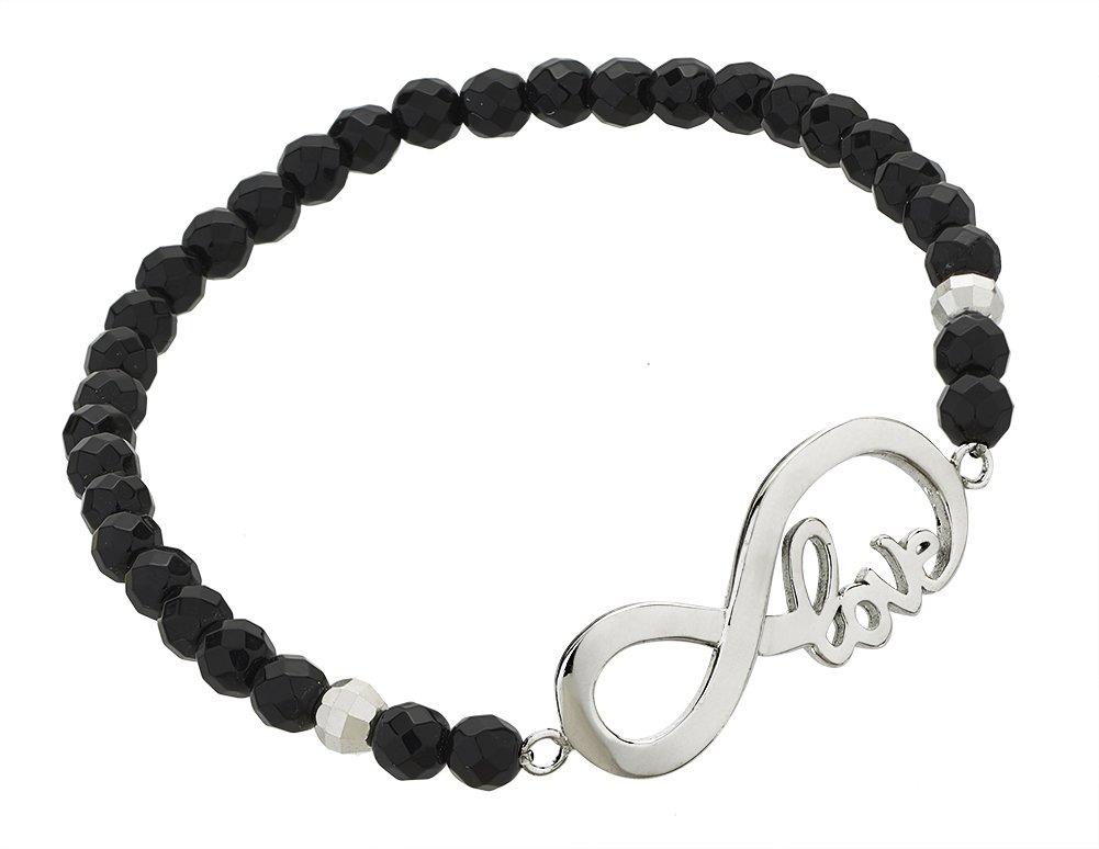 925 Sterling Silver Black Onyx Gemstone Beads Sideways Infinity Symbol Love Message Stretch Bracelet