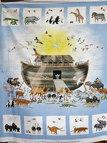 Noah's Ark Digital Print Showing Ark with Animals Northcott Cotton Fabric DP21499-42