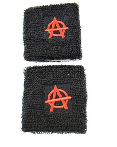 Zac's Alter Ego Pair Of Retro/Rockabilly/Gothic/Punk Pair Of Sweatbands One Size - Anarchy Wristband