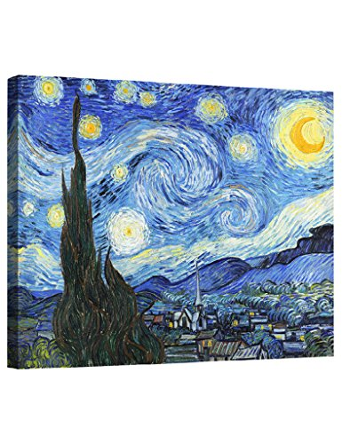 Eliteart-- Starry Night By Vincent Van Gogh Oil Painting Reproduction Giclee Wall Art Canvas (Night Oil Painting)