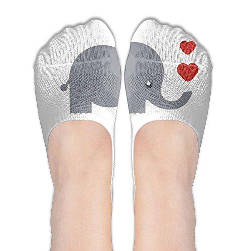 Brand New Women's Thin Casual Socks Non Slip Flat Boat Line, Elephant Cartoon With Hearts -
