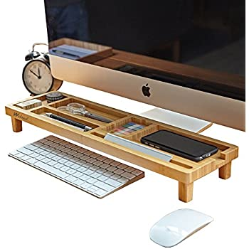 WCloud Desk Organizer Wood Office Supply Book Desktop Small Table Shelf Bamboo