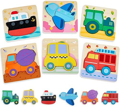 Wooden Puzzles for Toddlers 1-3 Years Old Vehicle Jigsaw Puzzle for 1 Year Old Girl and Boy Gifts Montessori Toys for One Year Old - 6 Pack