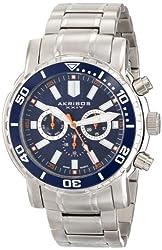 Akribos XXIV Men's AK675BU Grandiose Swiss Quartz Stainless Steel Navy Watch