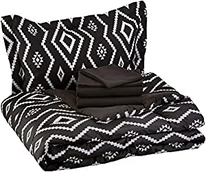 AmazonBasics 5-Piece Bed-In-A-Bag - Twin/Twin Extra-Long, Black Aztec