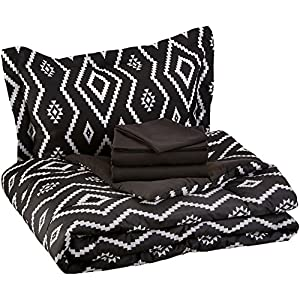AmazonBasics 5-Piece Bed-In-A-Bag, Twin / Twin Extra-Long Bedding Comforter Sheet Set, Black Aztec