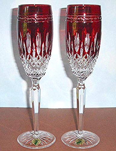 Waterford Clarendon Champagne Set of (2) Flutes Ruby Red New In Box