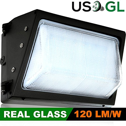 LED Wall-Pack Glass Lens- 40W 5000K Commercial Outdoor Light Fixture ( Out-Door Security Porch Lighting For Industrial Out-Side ) (Metal Halide Wallpack Light Fixture)