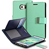 Vena [vDiary] Samsung Galaxy S6 Edge+ Wallet Case - Chic Slim Tri-Fold Flip Cover Faux Leather Wallet Case [Card Pockets & Stand] for Galaxy S6 Edge+ (Teal / Navy Blue)