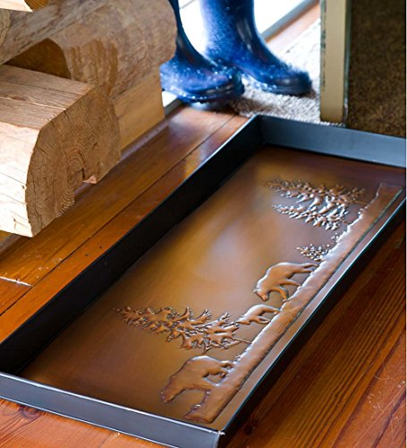 Bear Boot Tray In Embossed Metal by Plow & Hearth