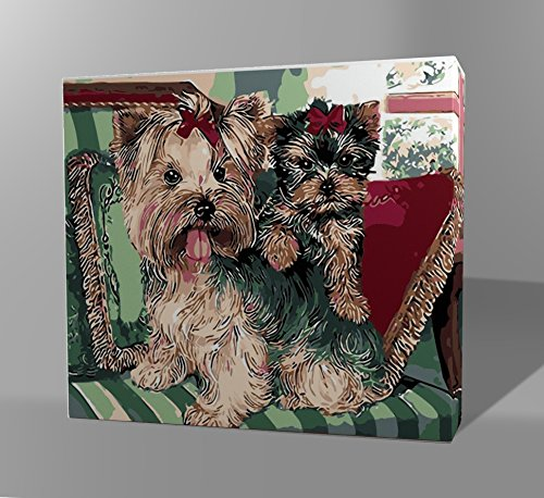 Adult DIY Oil Painting - Paint By Numbers Kit - Wooden Frame - (16 by 20 Inch) - Dog Series (Little Dogs)