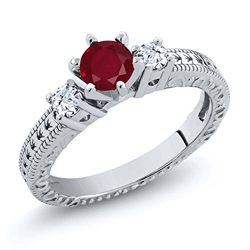 0.84 Ct Round Red Ruby White Topaz 925 Sterling Silver 3-Stone Ring (July Silver Birthstone Ring)